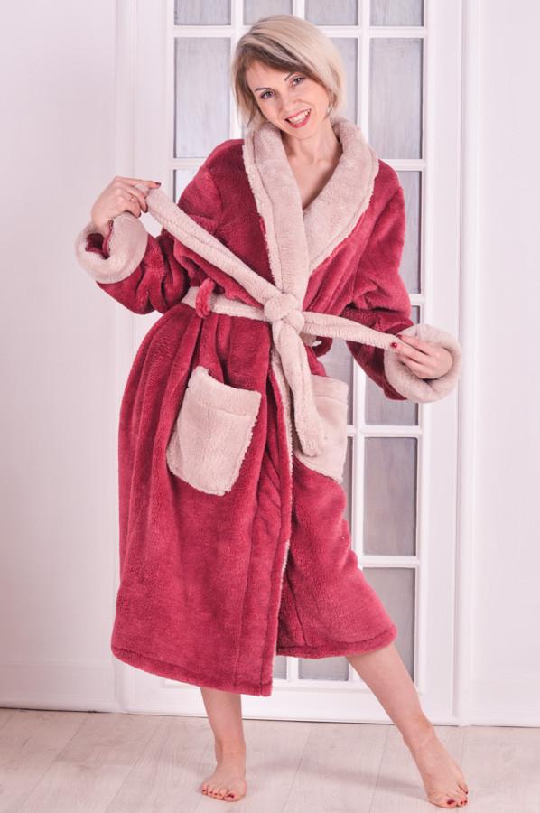 Халат женский теплый  розовый Велсофт MilaVa розовый