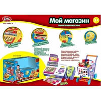 Набор Магазин: кассовый аппарат, сканер, тележка, продукты, 7562B