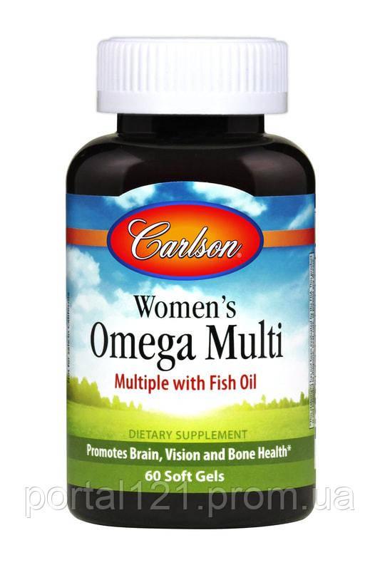 Женские Мультивитамины с Омега, Carlson, 60 желатиновых капсул