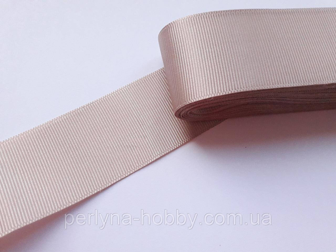 Тесьма лента репсовая широкая Стрічка репсова 4см 40 мм, бежево-брудно-рожева №26. Туреччина