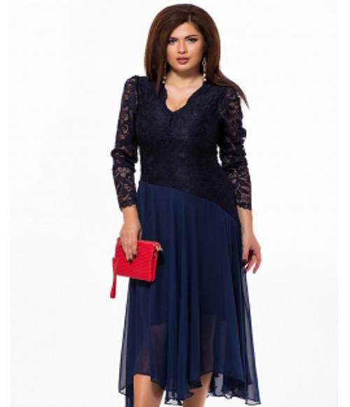 4b319d551eb Вечернее платье с длинным рукавом темно-синий 825700 - СТИЛЬНАЯ ДЕВУШКА  интернет магазин модной женской