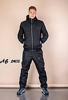 Тёплый зимний спортивный мужской костюм штаны куртка на овчине и синтепоне чёрный 48 50 52 54 56 58