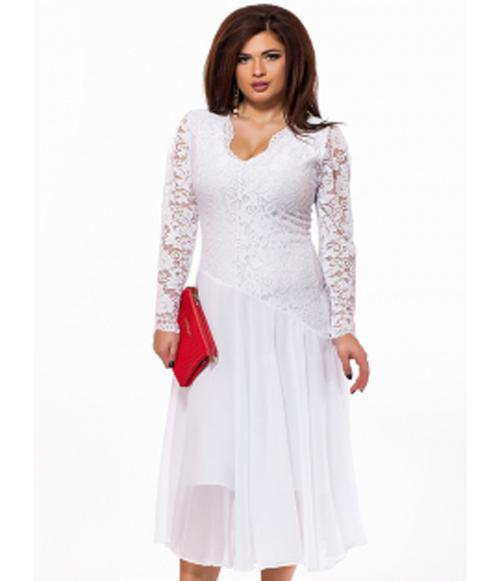 1383f66ee56 Вечернее белое платье для полных с шифоновой юбкой миди 825701 ...