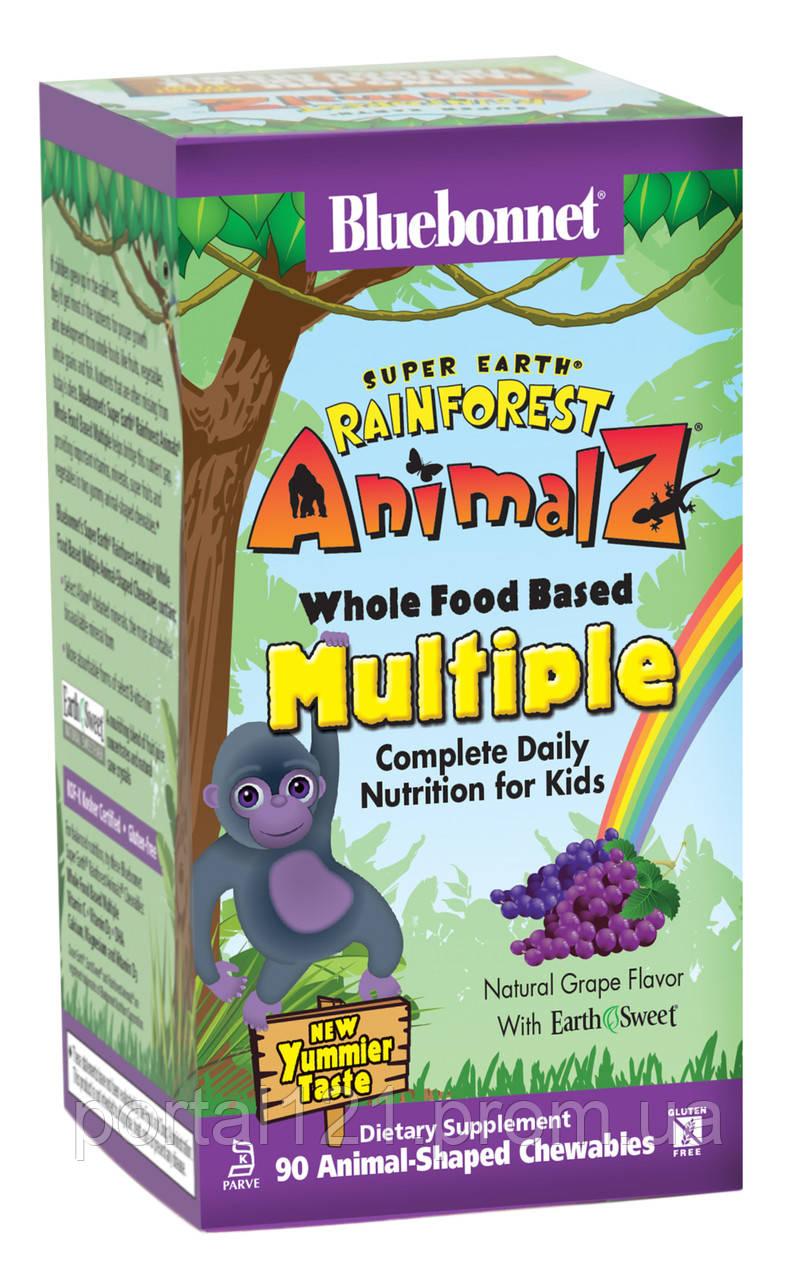 Мультивитамины для Детей, Виноград, Rainforest Animalz, Bluebonnet Nutrition, 90 жевательных конфет
