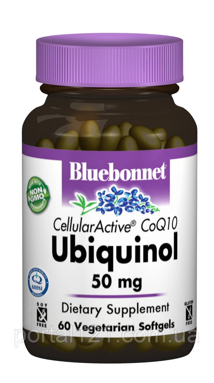 Убихинол 50мг, Cellular Active, Bluebonnet Nutrition, 60 желатиновых капсул