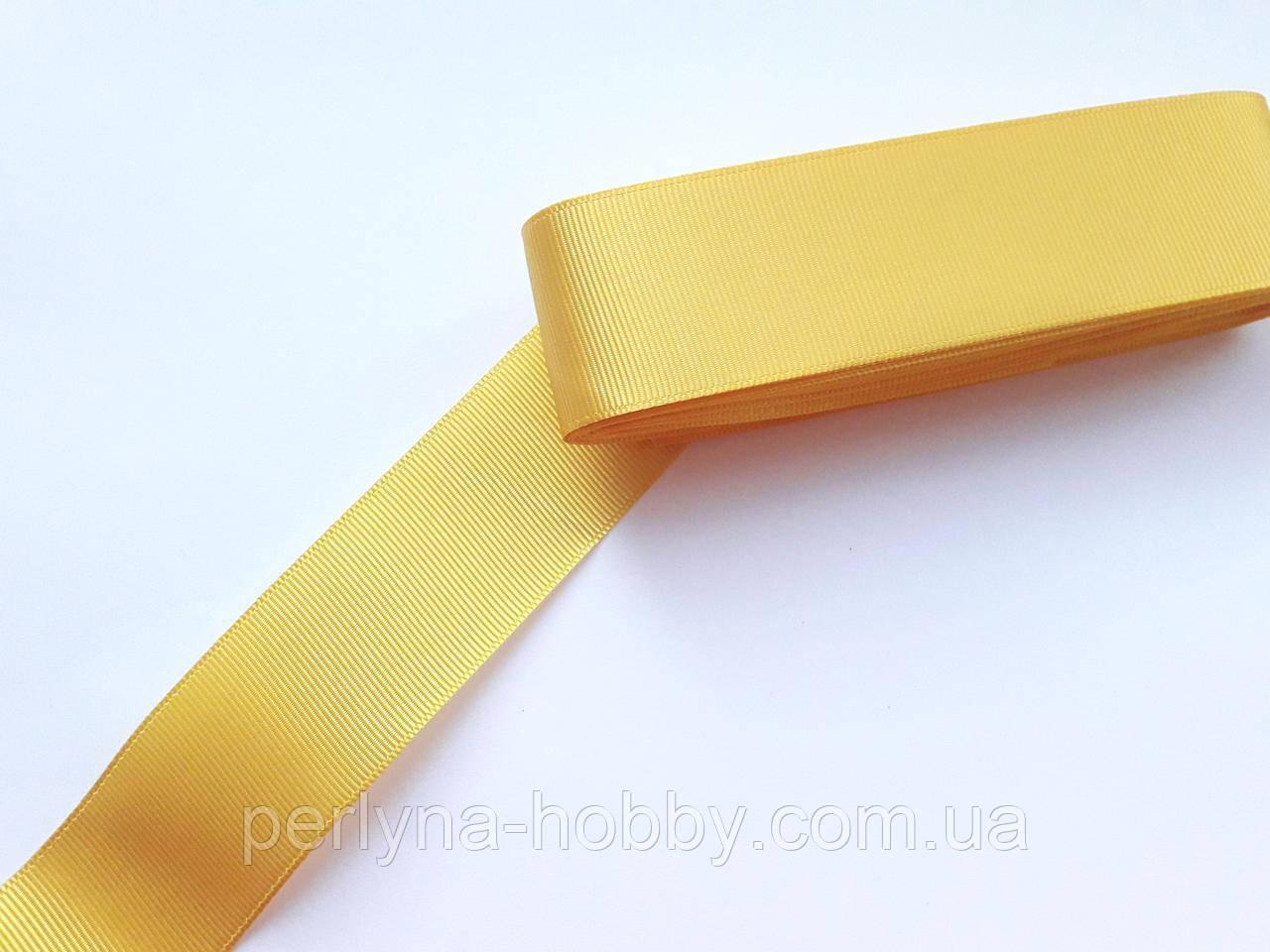 Тесьма лента репсовая широкая Стрічка репсова  4 см 40 мм, жовта № 86. Туреччина
