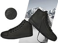Кеды зимние мужские утепленные Power Design 1001 размер 40 кожаные на меху Чёрные