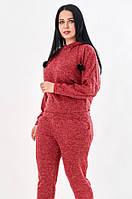 Женский теплый спортивный костюм красного цвета. Модель 19892. Размеры 50-56, фото 1