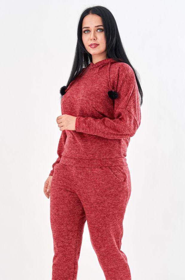 Женский теплый спортивный костюм красного цвета. Модель 19892. Размеры 50-56