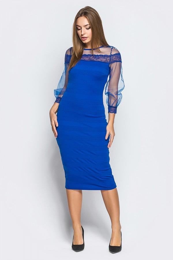 Ярко-синее платье из дайвинга с утяжкой, фото 1