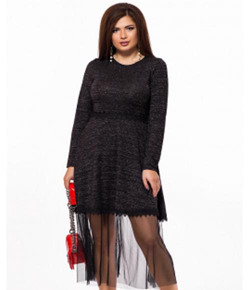 ae78ded25f6 Вечернее платье для полных с сеткой темно-серый 825702 купить ...