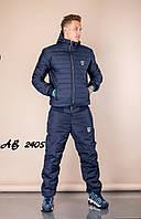 Тёплый зимний спортивный мужской костюм штаны куртка на овчине и синтепоне тёмно-синий 48 50 52 54 56 58