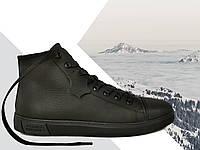 Кеды демисезонные мужские утепленные Power Design 1002 размер 40 кожаные Чёрные