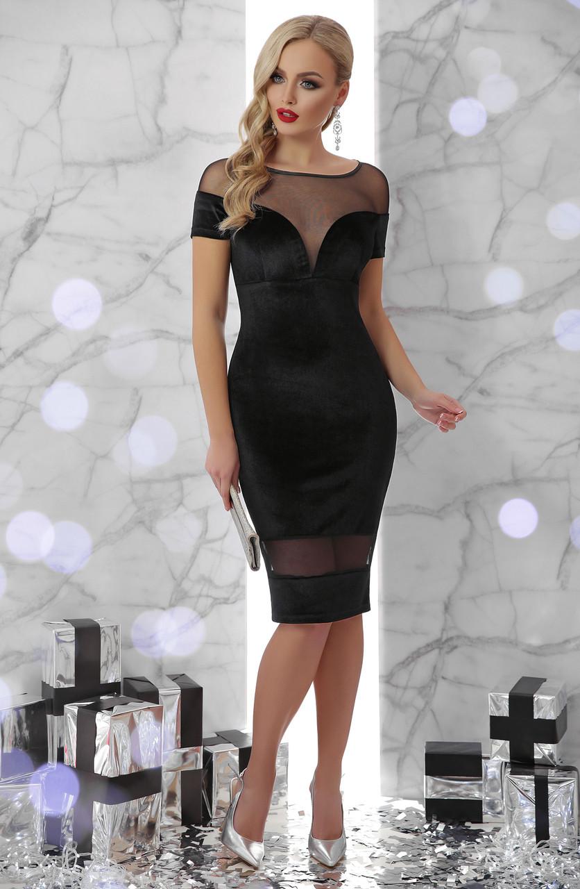 Велюровое женское вечернее платье с сеткой