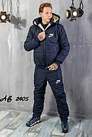 Тёплый зимний спортивный мужской костюм NIKE штаны куртка на овчине с капюшоном тёмно синий 48 50 52 54