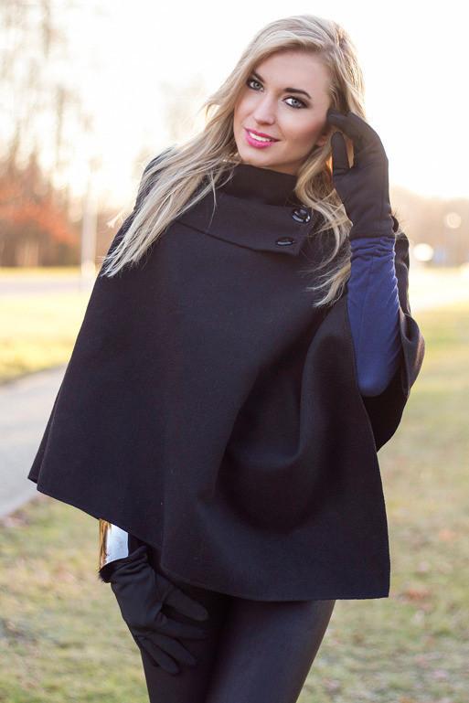 Пончо жіноче з пальтової тканини (Італія) Чорне