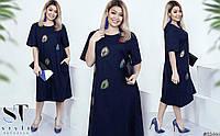Модное льняное платье с аппликацией батал