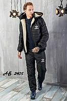 Тёплый зимний спортивный мужской костюм adidas штаны куртка на овчине с капюшоном чёрный 48 50 52 54