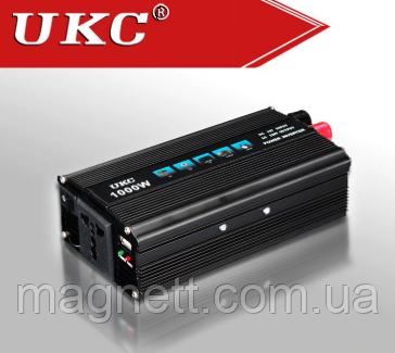 Автомобильный инвертор 1000 Вт UKC Преобразователь тока 12V-220V