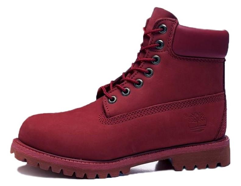 "Женские ботинки Timberland Сlassic ""Bordo"" (Тимберленд) с нат. мехом"