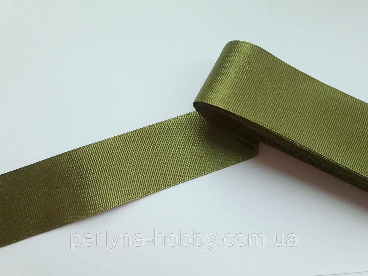 Тесьма лента репсовая широкая Стрічка репсова  4 см 40 мм, оливкова, хакі світла № 73. Туреччина