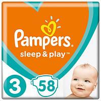 Підгузники дитячі Pampers Sleep&Play Midi 3 (4-9 кг) Ekonom Pack 58 шт, фото 1