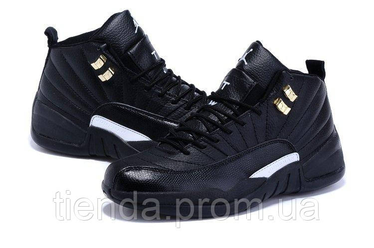 Баскетбольные кроссовки Nike AIR Jordan 12 Retro Black  White ( кроссовки  найк джордан черные ) a99e101cc45