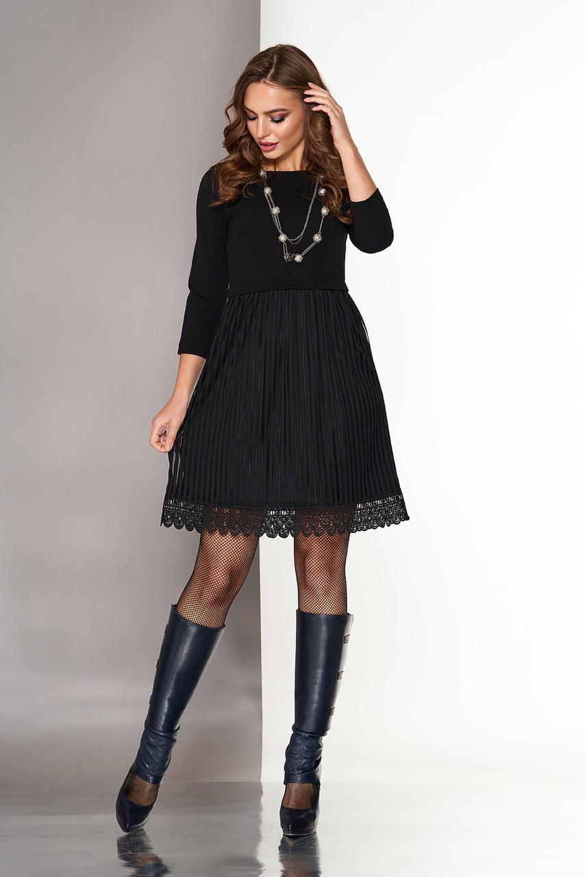 Нарядное черное платье с высокой талией