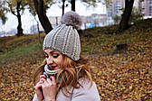 Серый зимний набор вязанный шапка и снуд жгут
