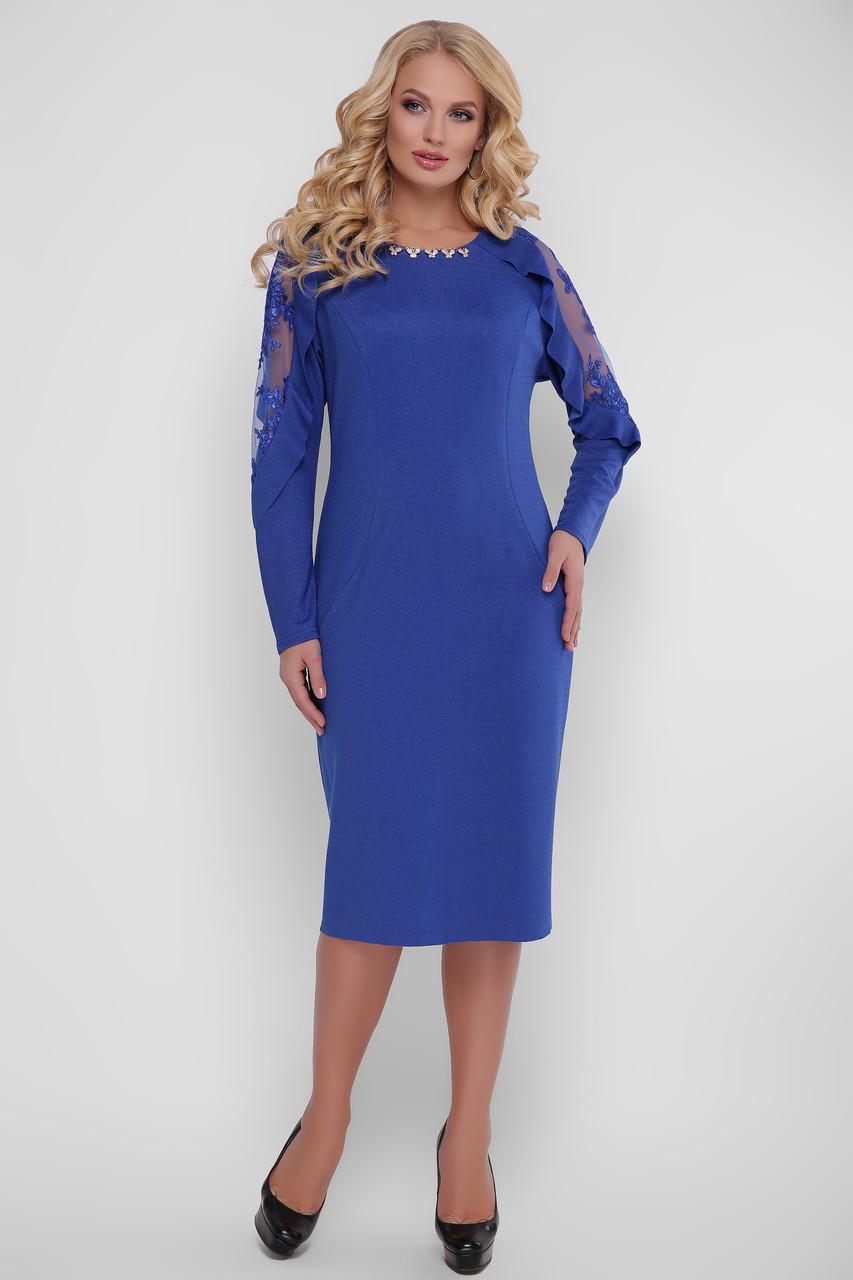 Вечернее платье больших размеров Рамина электрик