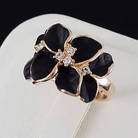 Сногсшибательное кольцо с кристаллами Swarovski, и позолотой 0248 16,5 Черный