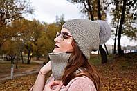 Серый зимний набор вязанный шапка и снуд изнанка