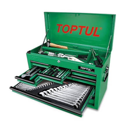 Ящик с инструментом (TBAA0901, 9 секций) 186ед.  TOPTUL GCBZ186A, фото 2