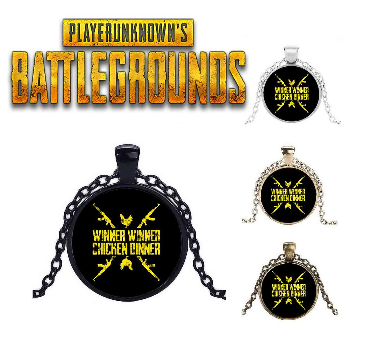 Кулон на фоне с фразой PlayerUnknown's Battlegrounds  PUBG