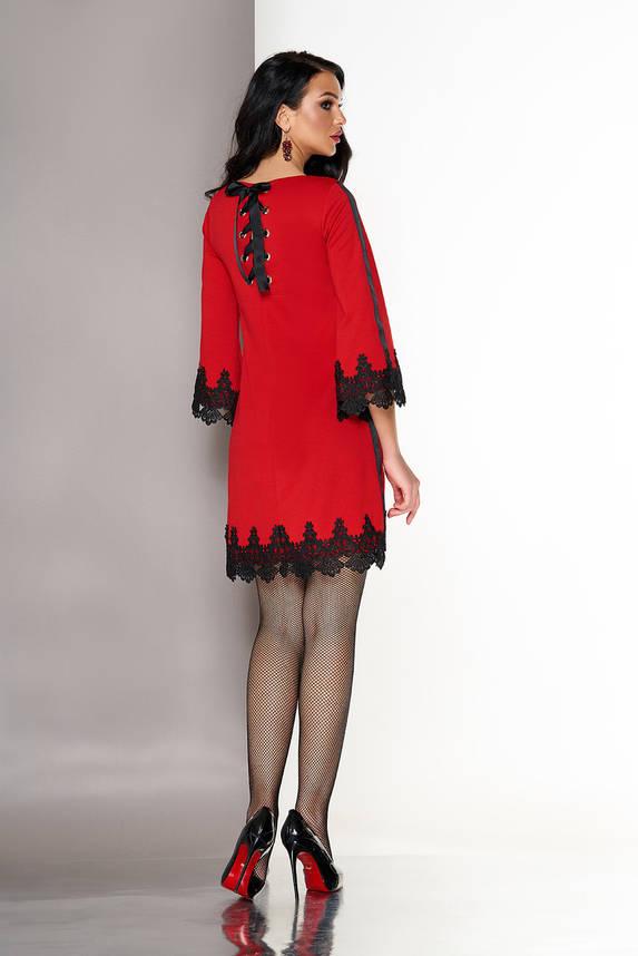 Красное платье трапеция с кружевом, фото 2