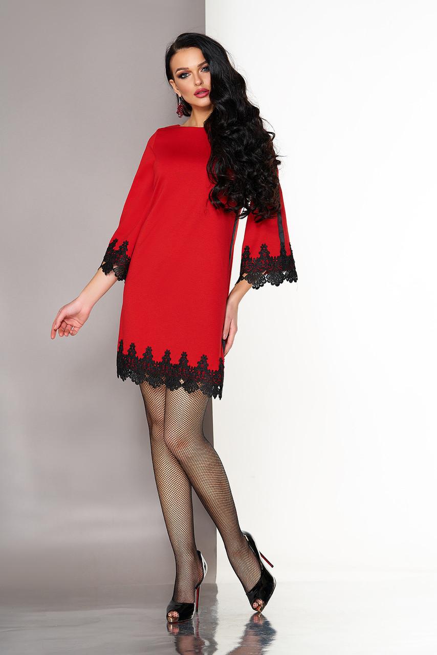 Красное платье трапеция с кружевом