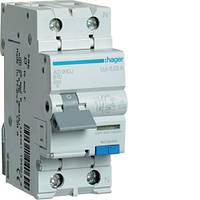 Дифференциальный автоматический выключатель 1+N, 10A, 30mA, B, 6kA, A Hager