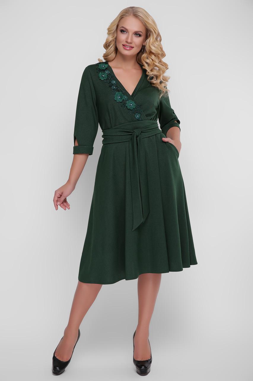 Нарядное зеленое платье больших размеров Паула
