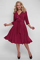 Бордовое красивое платье для полных девушек Паула