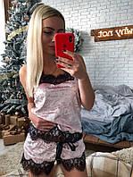 Новинка 2018-2019!Бархатный, женский, домашний костюмчик с кружевом: майка и шортики РАЗНЫЕ ЦВЕТА , фото 1