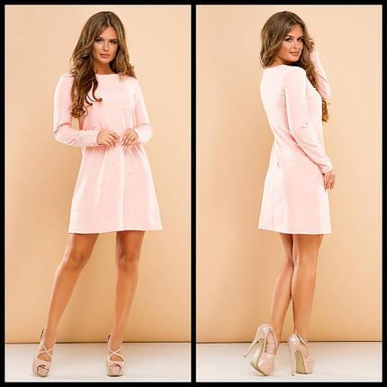 """Короткое нарядное платье-трапеция """"MARTINA"""" с жемчугом (3 цвета), фото 2"""