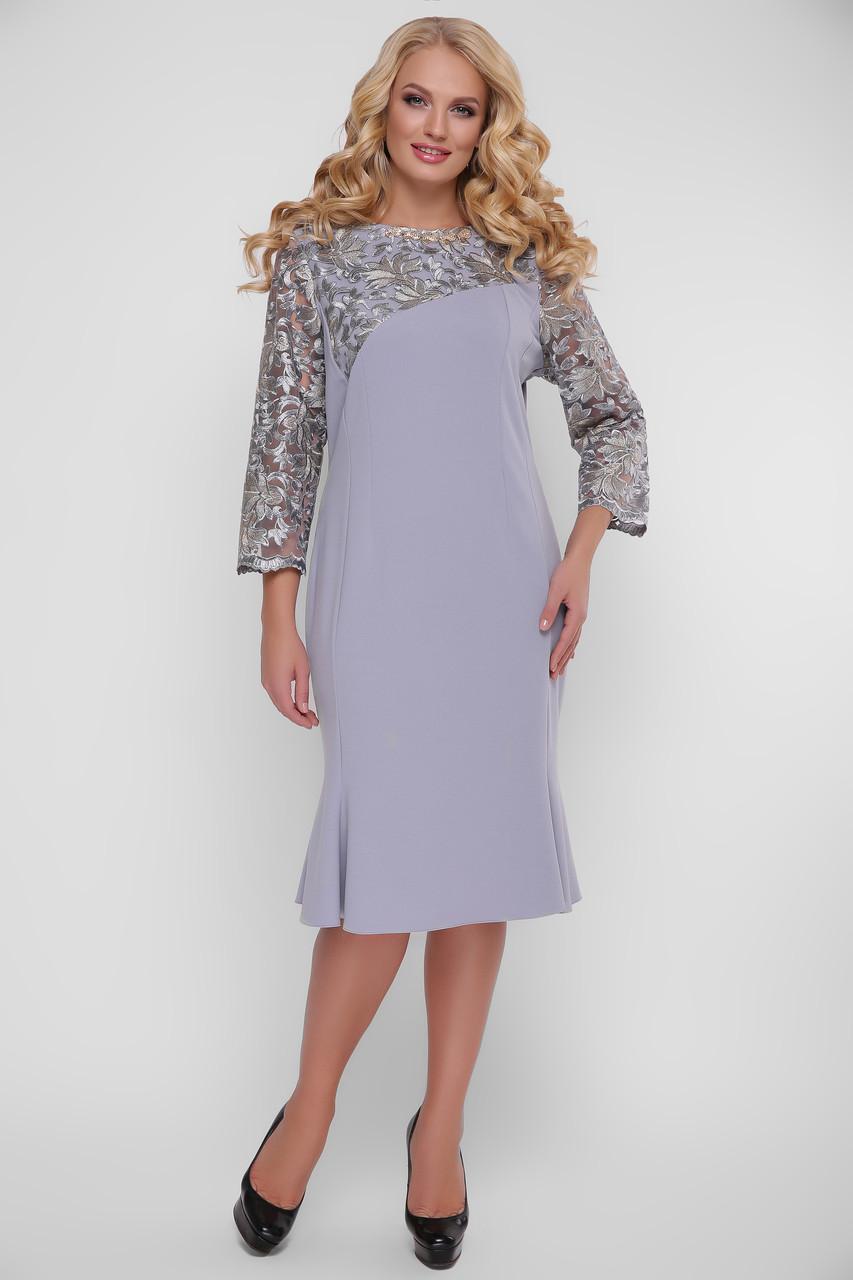 Серое вечернее платье больших размеров Аннэт
