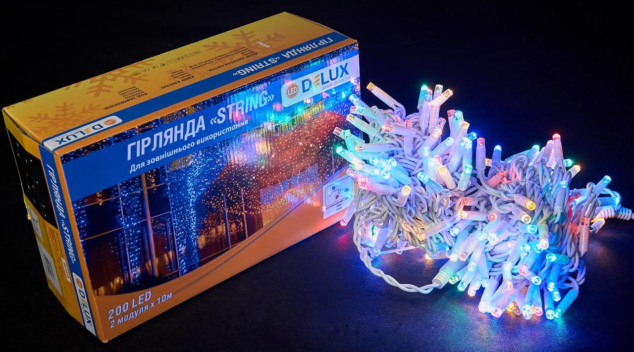 Уличная гирлянда разноцветная DELUX STRING 200 LED 20м (2x10m) 40 flash мульти/белый IP44 EN