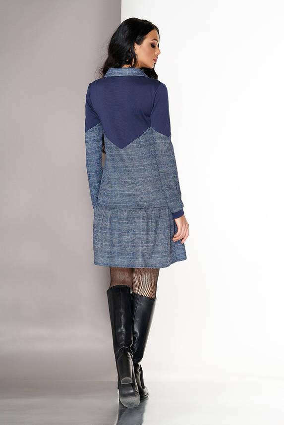 Трикотажное платье на каждый день в клетку серое, фото 2
