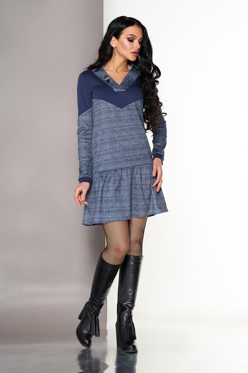 Трикотажное платье на каждый день в клетку серое