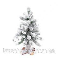 Елка искусственная в снегу на деревянной подставке, высота 60 см, Новогодние елки, Днепр
