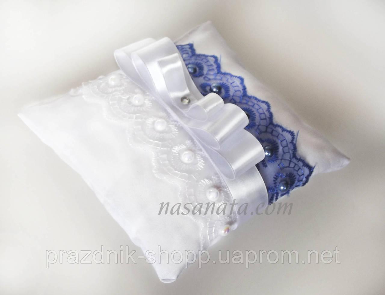 Подушечка для колец, бело синяя.