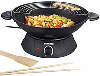 Электрическая сковорода severin wo 2442, wok с решеткой, в комплекте деревянные аксессуары, термостат