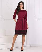 Женское платье под пояс с кружевом с411671 (42-48)
