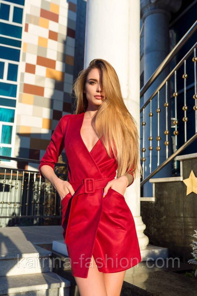 Женское платье замшевое с ремнем (3 цвета)